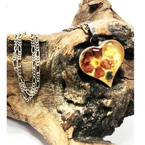 Vintage sterling Flower glass heart necklace